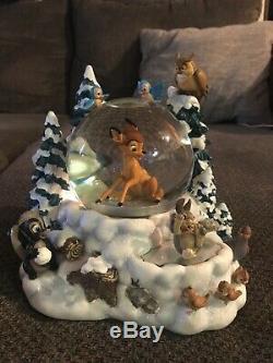 Walt Disney Snow Scene Bambi Musical Snowglobe VHTF