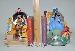 Wonderful World of Disney Musical Bookend Snow Globes, Through the Years AS IS